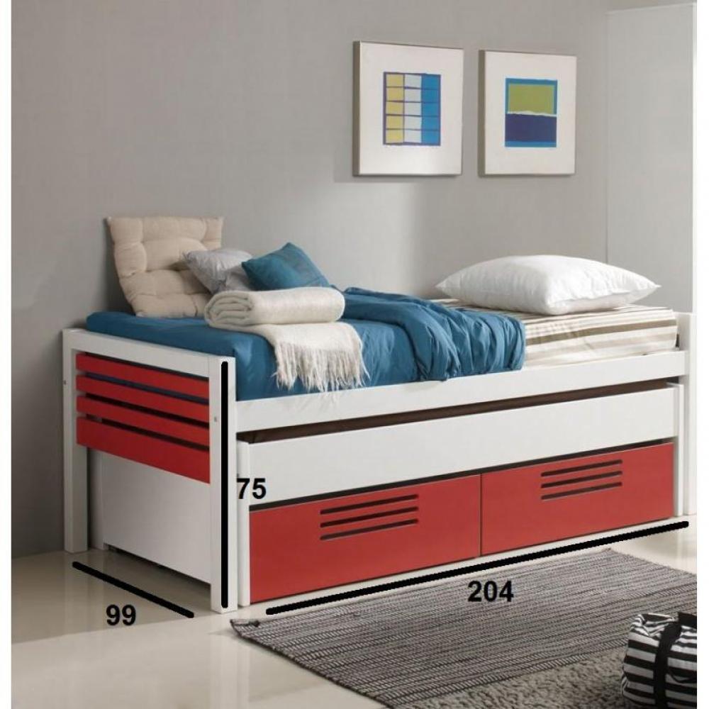 Lits gigognes chambre literie lit gigogne double marlone violet et ve - Lit avec tiroir couchage ...