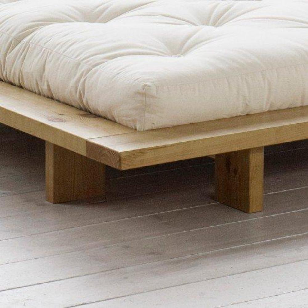 cadre de lit japonais japan miel 140 200cm avec sommier ebay. Black Bedroom Furniture Sets. Home Design Ideas
