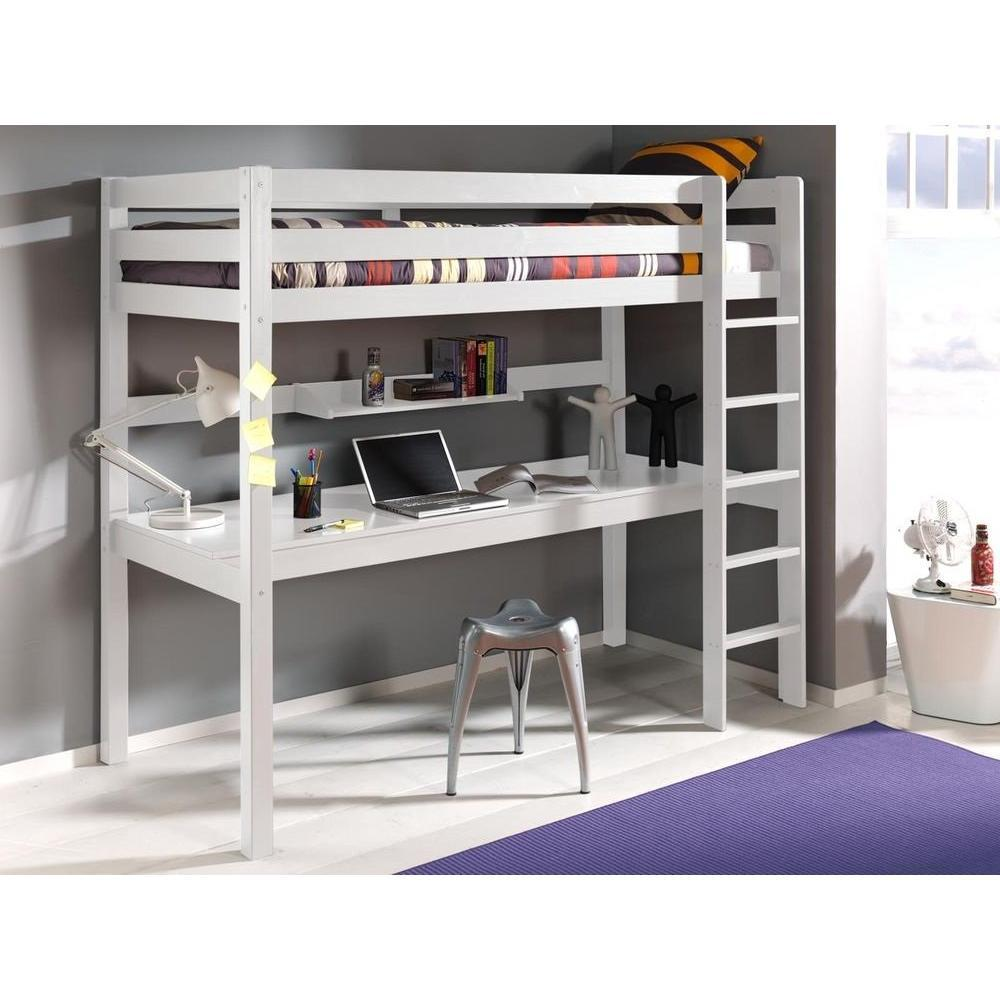 lits chambre literie lit bureau mezzanine pino en pin vernis blanc inside75. Black Bedroom Furniture Sets. Home Design Ideas
