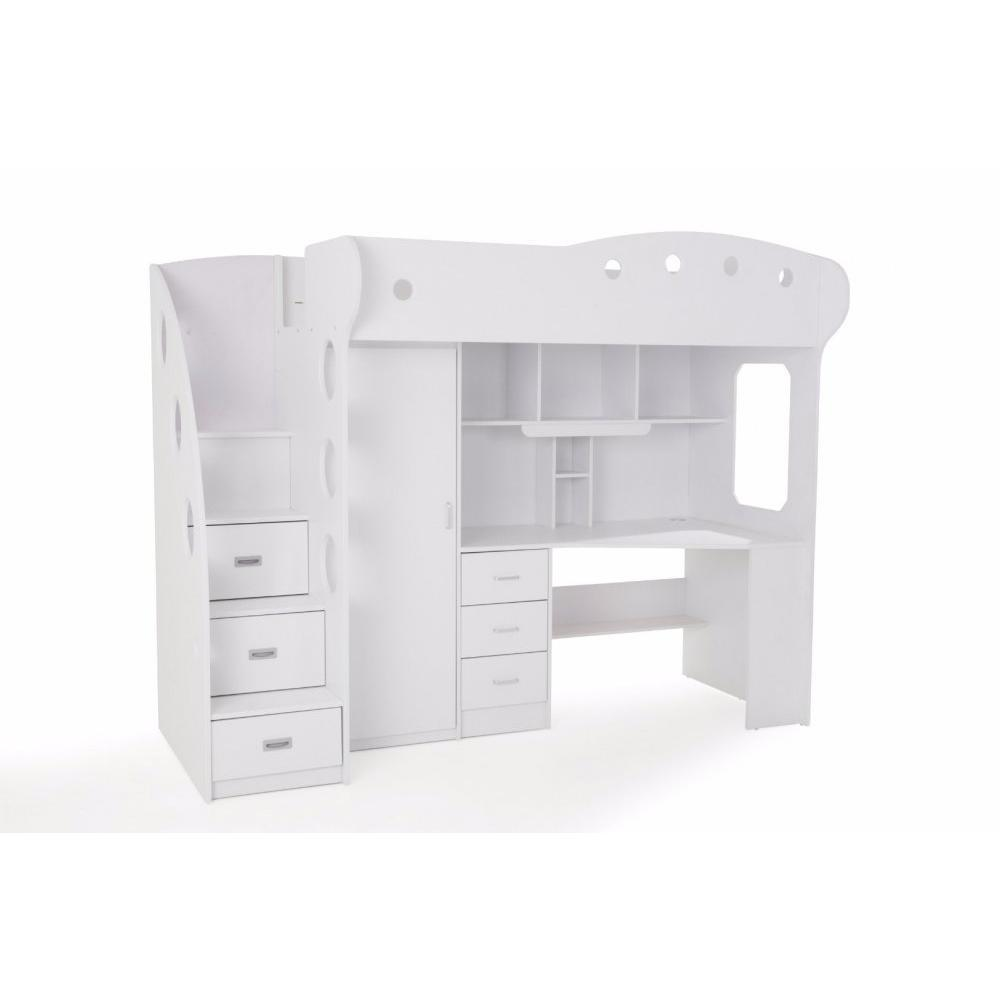Lit mezzanine COMBI combiné bureau penderie blanche