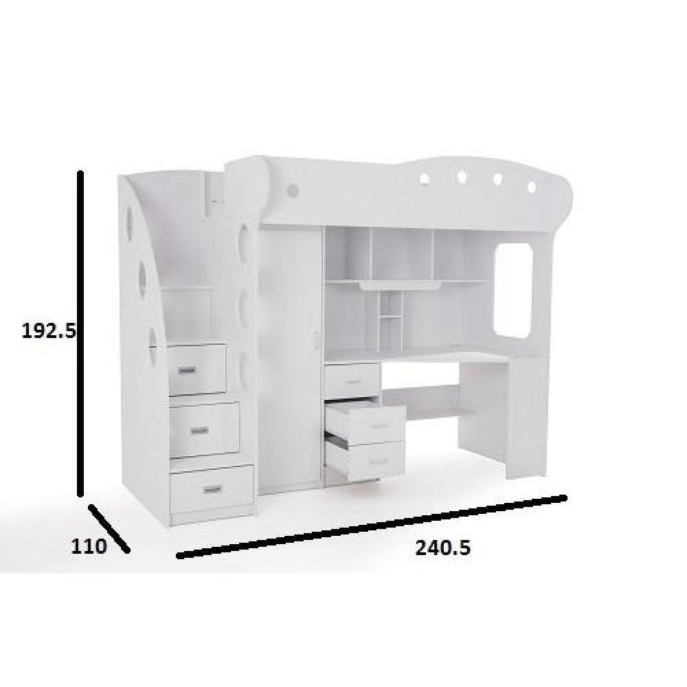 Lit mezzanine combi combin bureau penderie blanche ebay - Lit combine armoire bureau ...