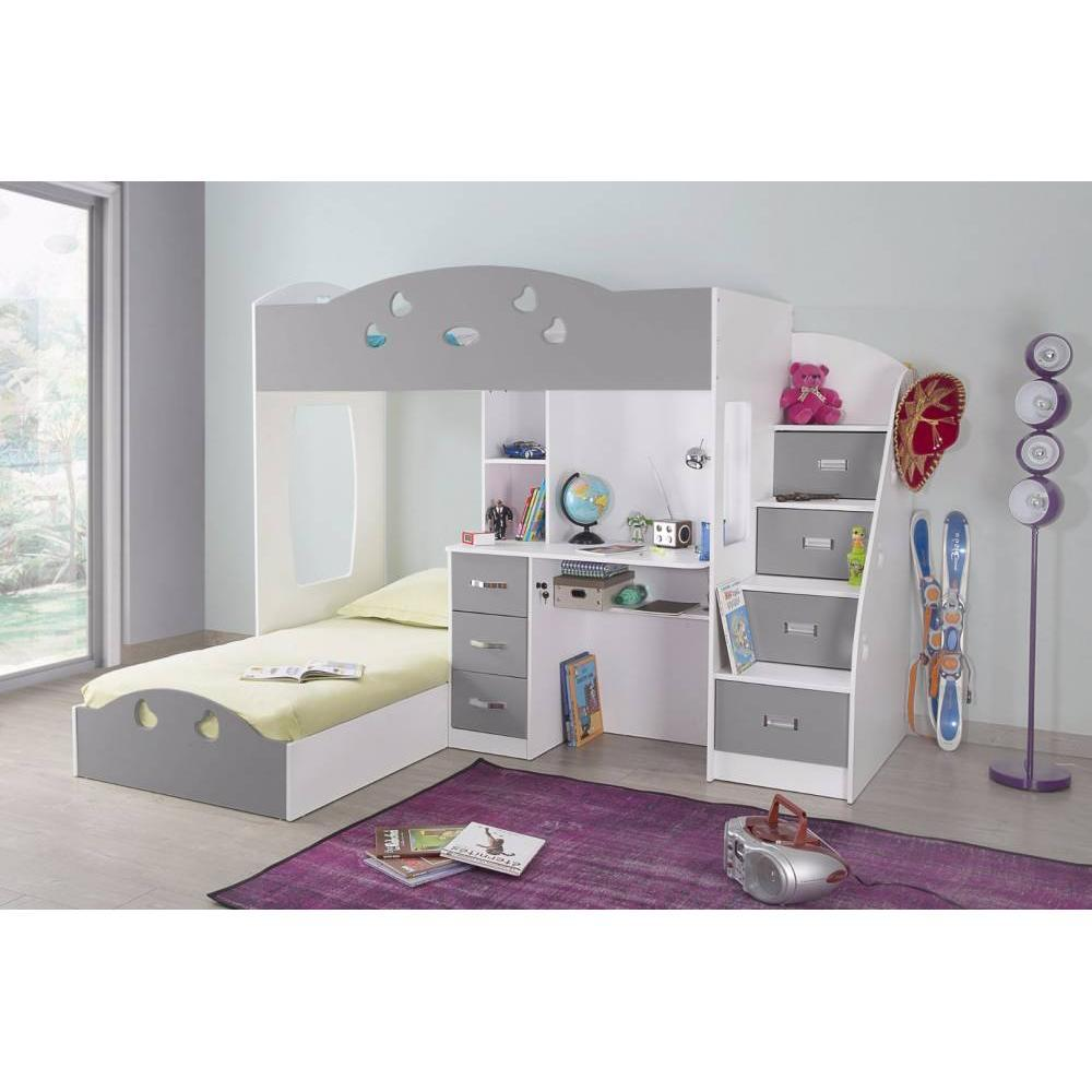 lits chambre literie lit mezzanine combi blanc et gris. Black Bedroom Furniture Sets. Home Design Ideas