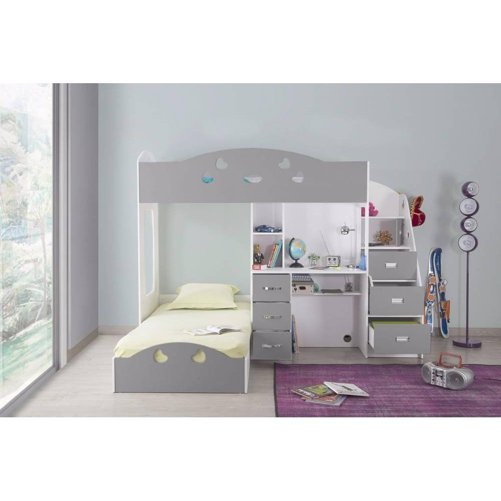 lits chambre literie lit mezzanine combi blanc et gris espace bureau int gr inside75. Black Bedroom Furniture Sets. Home Design Ideas