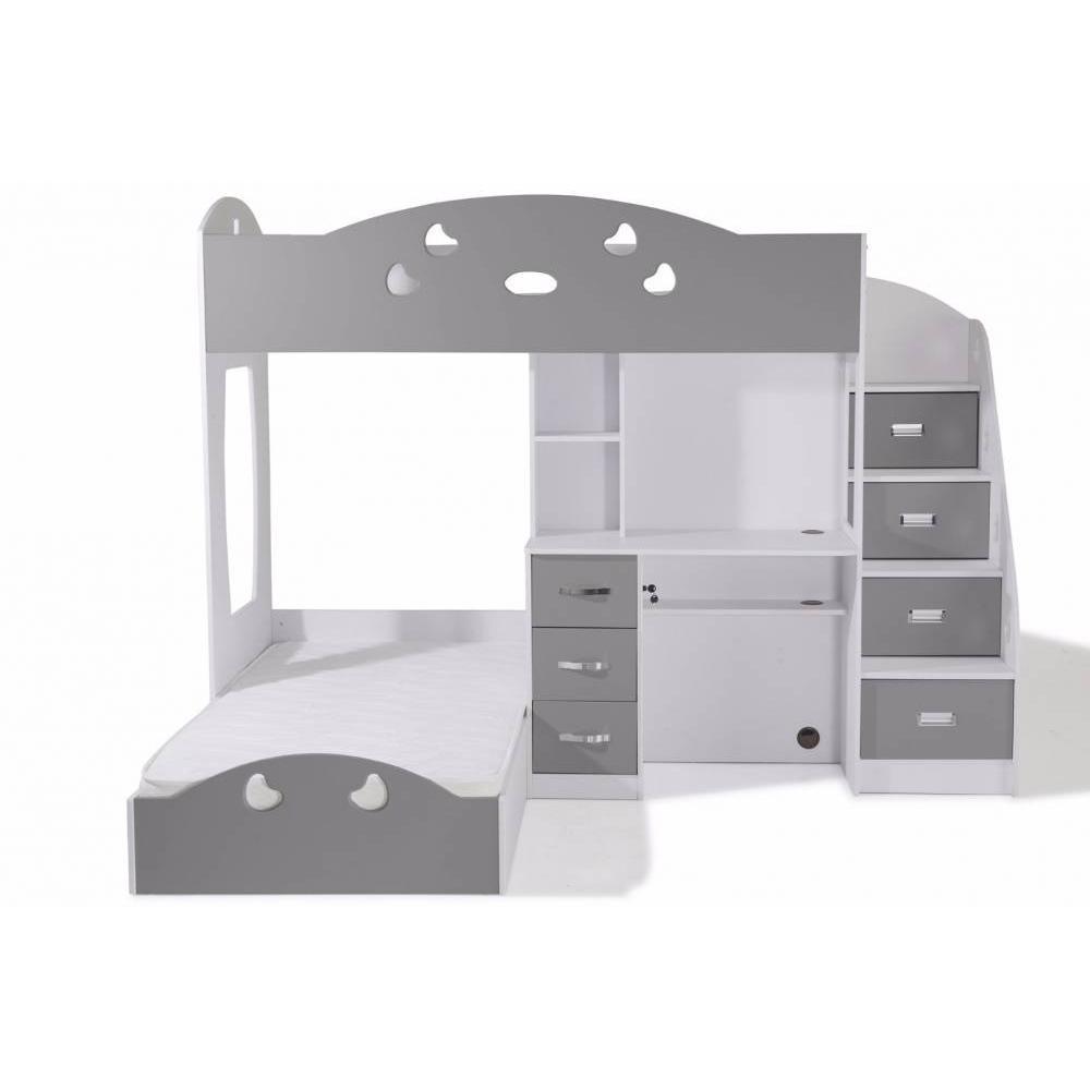 Lits chambre literie lit mezzanine combi blanc et gris for Lit mezzanine et bureau