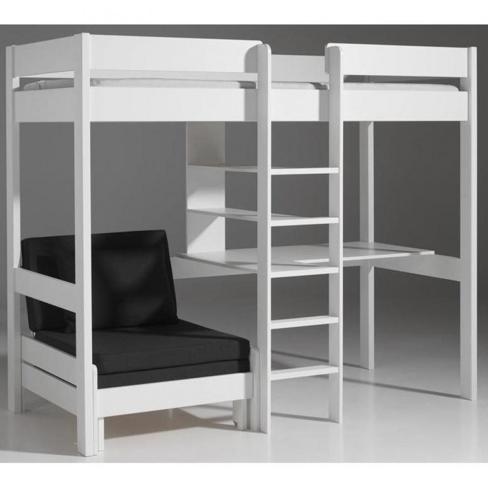 Lits chambre literie lit mezzanine avec fauteuil pluton en pin vernis blanc inside75 for Lit mezzanine bureau blanc