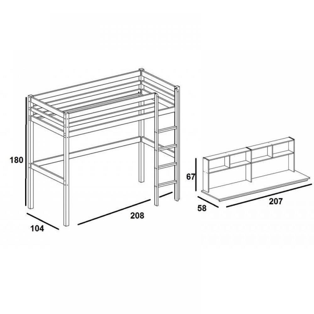 Lits mezzanine chambre literie lit mezzanine flexa avec bureau et tag res en pin vernis - Bureau sous lit mezzanine ...