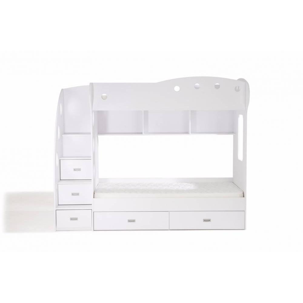 lits mezzanine chambre literie lit mezzanine superpos combi blanc inside75. Black Bedroom Furniture Sets. Home Design Ideas