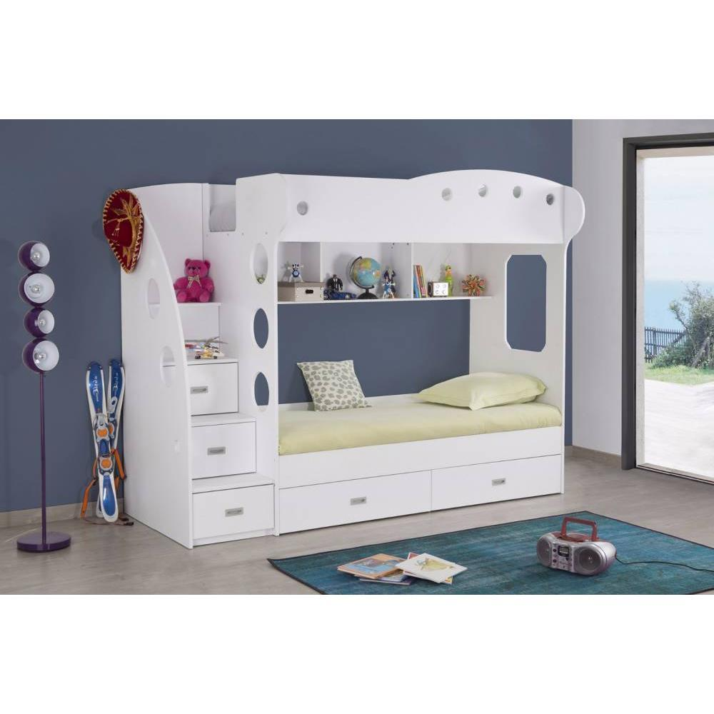 lits chambre literie lit mezzanine superpos combi blanc inside75. Black Bedroom Furniture Sets. Home Design Ideas