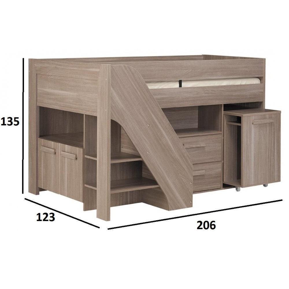 chaises meubles et rangements lit mi haut compact gimli couchage 90 x 200 coloris ch ne inside75. Black Bedroom Furniture Sets. Home Design Ideas