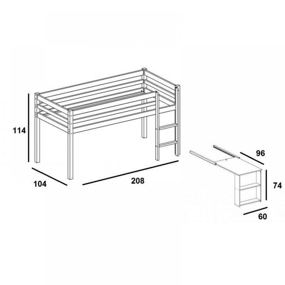 lits mezzanine chambre literie lit mi haut flexa avec. Black Bedroom Furniture Sets. Home Design Ideas