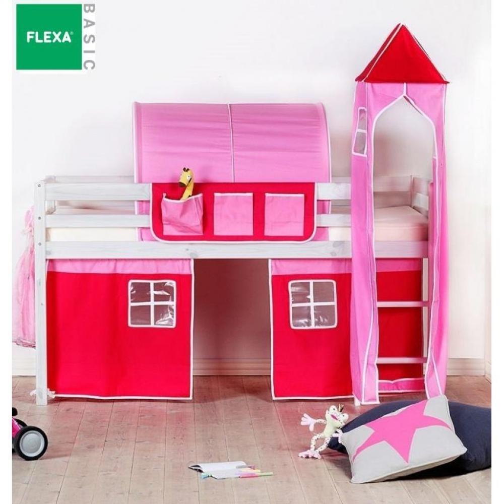 lits mi hauteur chambre literie lit mi haut flexa en pin vernis blanchi couchage 90 x 200. Black Bedroom Furniture Sets. Home Design Ideas