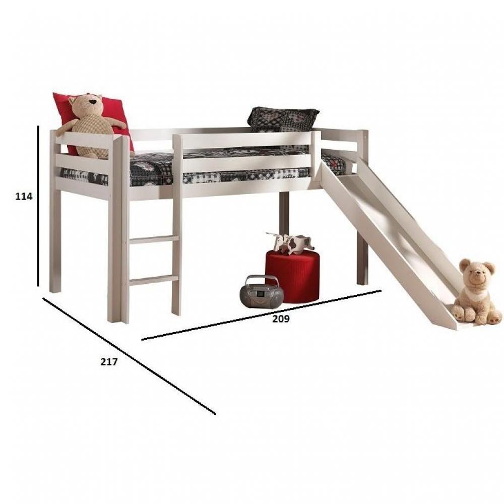 lits chambre literie lit mi haut pino avec toboggan en pin massif blanc. Black Bedroom Furniture Sets. Home Design Ideas