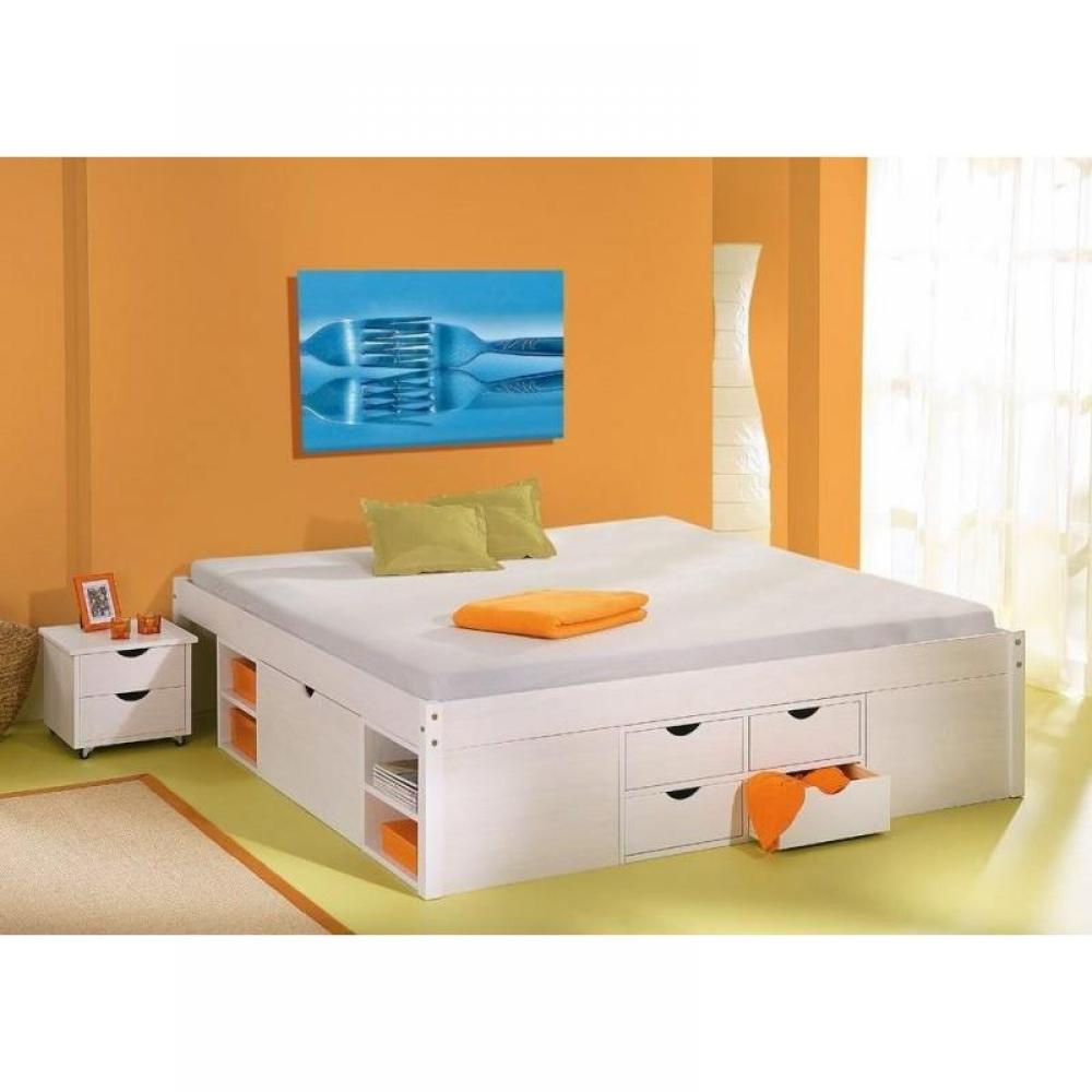 Lits chambre literie lit multi rangement till en pin massif blanc 2 couchages 140 x 190 cm - Lit 140 avec tiroirs rangement ...