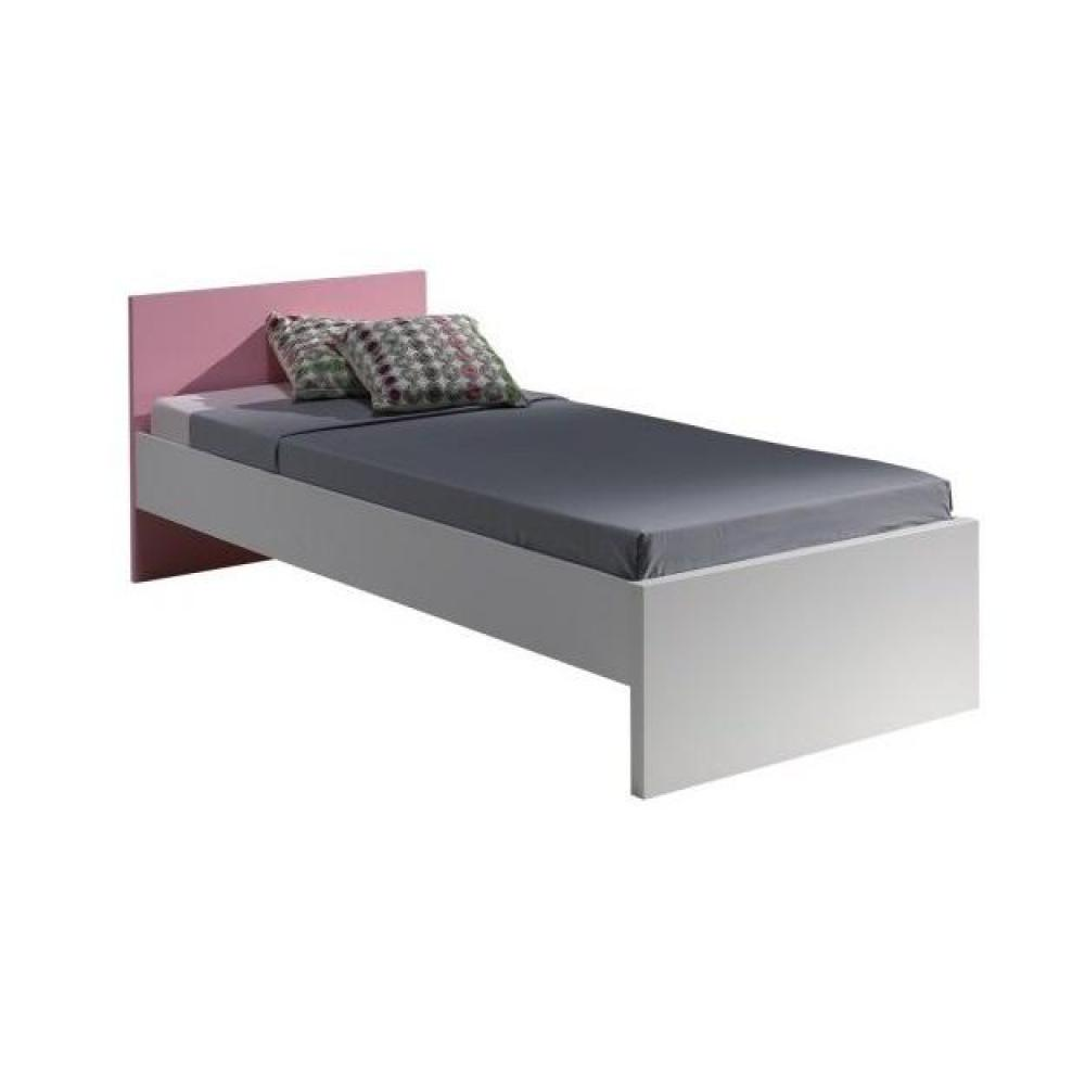 lits enfant chambre literie lit simple orion design blanc et rose inside75. Black Bedroom Furniture Sets. Home Design Ideas