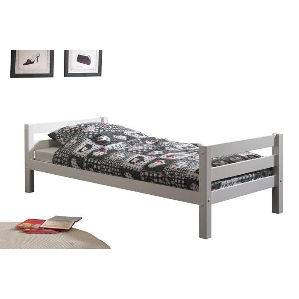 lits chambre literie lit simple pino en pin massif blanc inside75. Black Bedroom Furniture Sets. Home Design Ideas