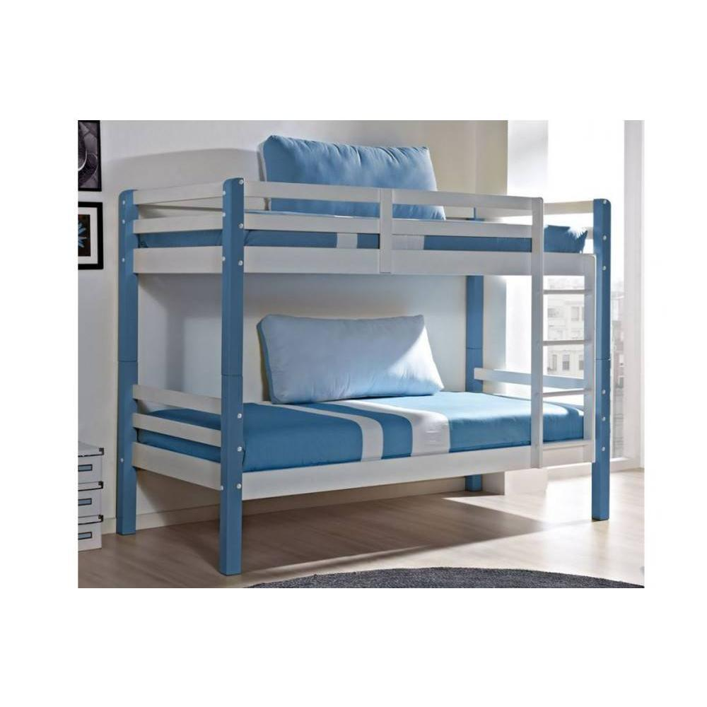 lits superpos s chambre literie lit superpos comete en pin massif blanc et bleu couchage. Black Bedroom Furniture Sets. Home Design Ideas