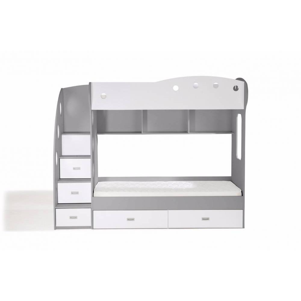 lits chambre literie lit mezzanine superpos combi blanc et gris inside75. Black Bedroom Furniture Sets. Home Design Ideas