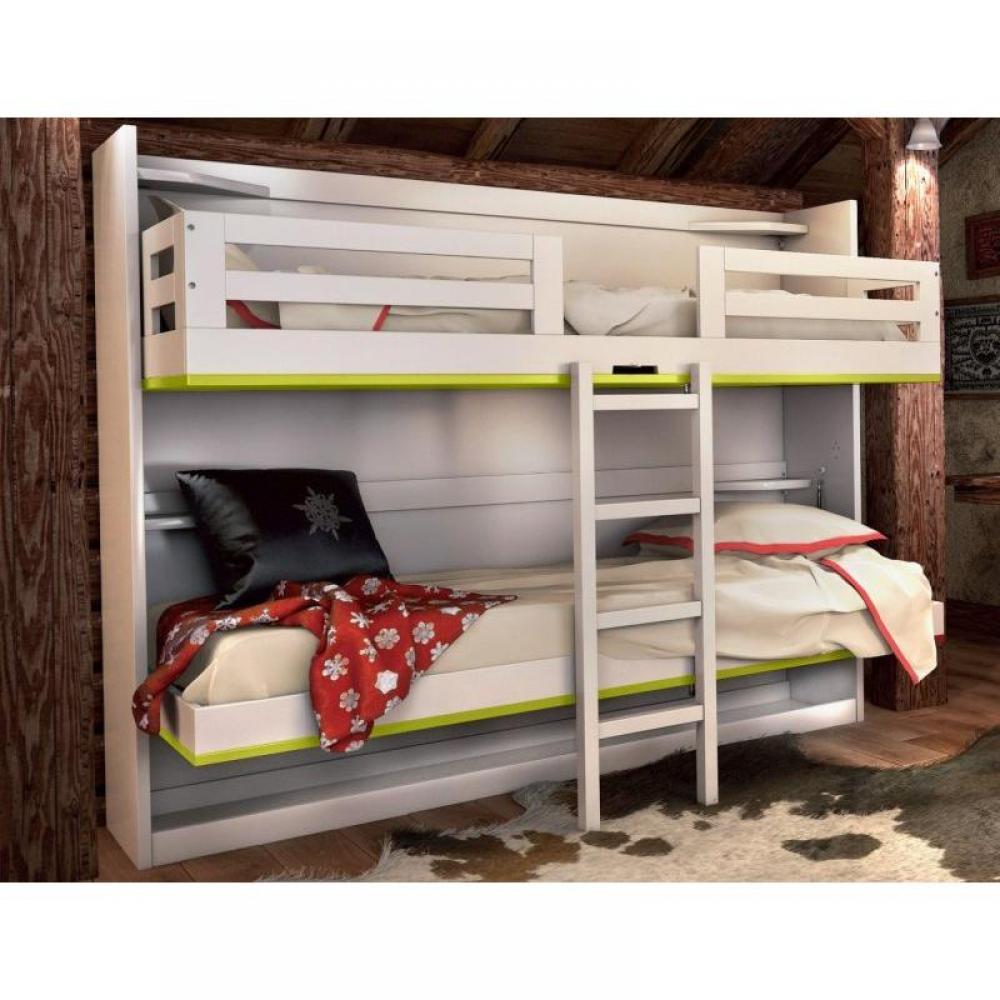armoire lits superpos s jacquelin coloris vert 2 couchages 80 12 190 cm inclus. Black Bedroom Furniture Sets. Home Design Ideas