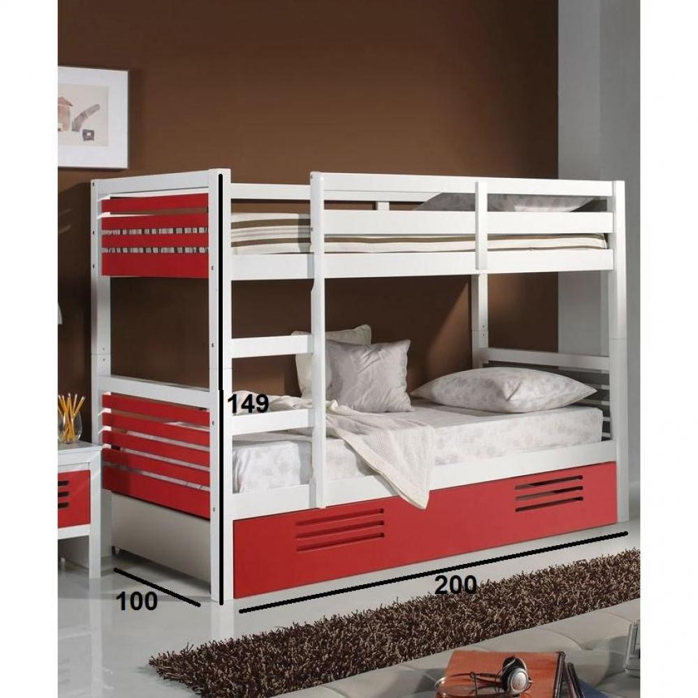 lits superpos s chambre literie lit superpos marlone avec tiroir laqu blanc et rouge. Black Bedroom Furniture Sets. Home Design Ideas