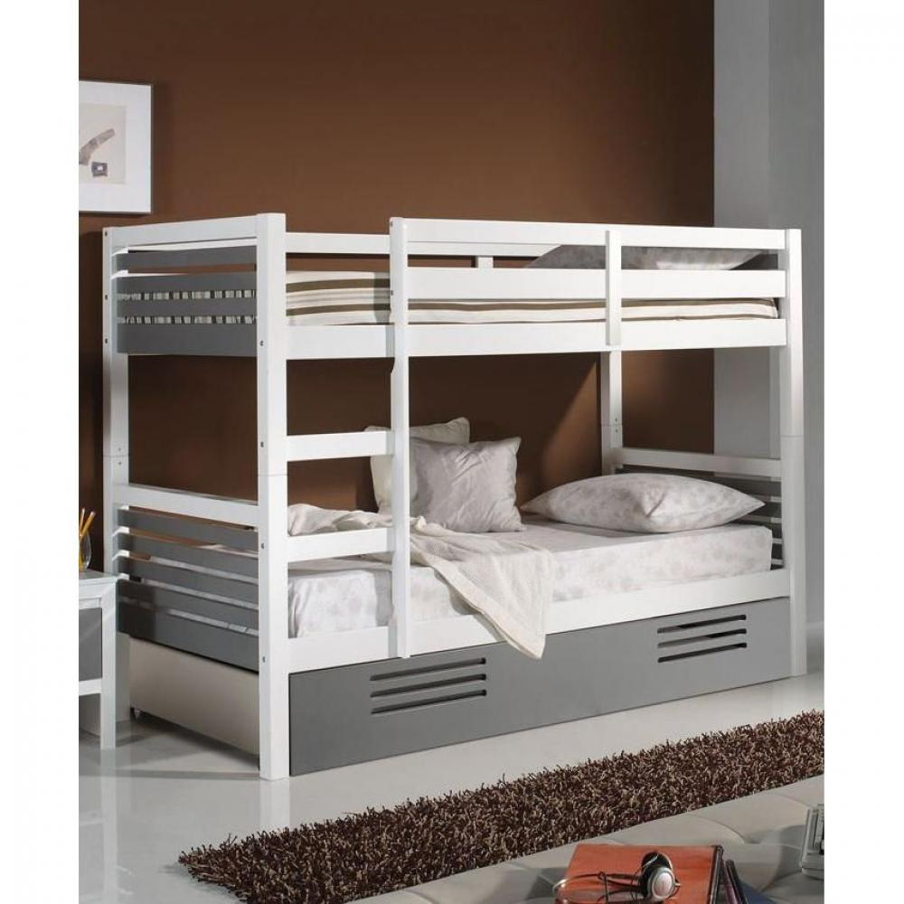 lits superpos s chambre literie lit superpos marlone avec tiroir laqu blanc et gris. Black Bedroom Furniture Sets. Home Design Ideas