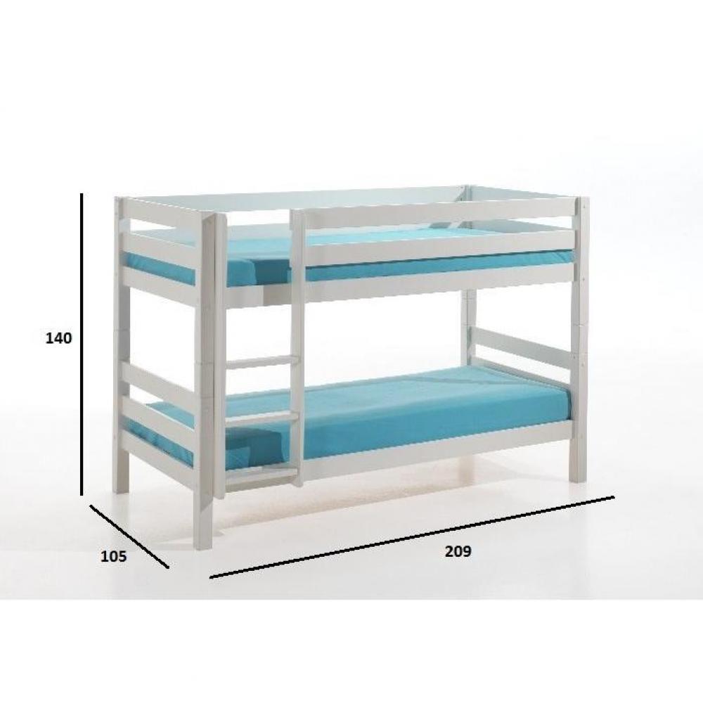 Lits chambre literie lit superpos pino en pin vernis blanc petit mod le - Lit superpose en pin ...