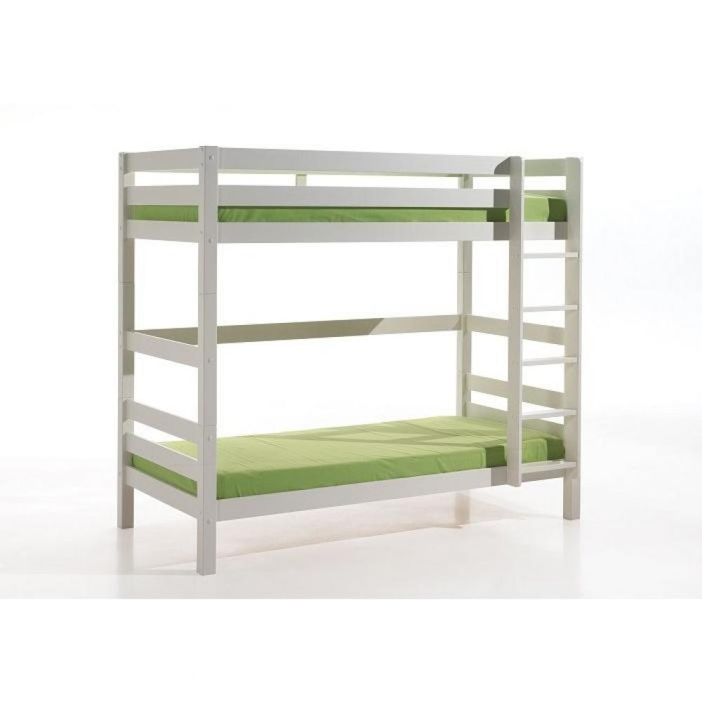 Lits chambre literie lit superpos pino en pin massif vernis blanc co - Lit superpose 3 couchage ...