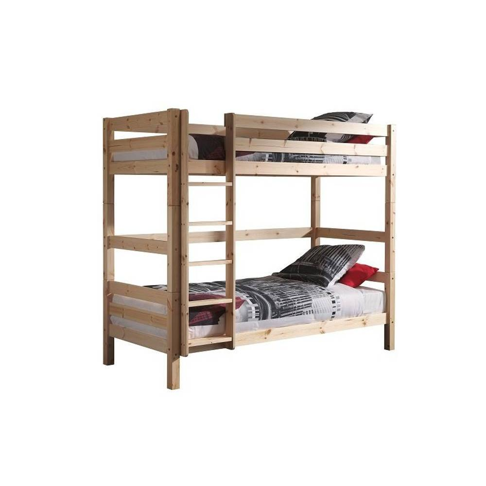 Lits chambre literie lit superpos pino en pin massif naturel couchag - Lit superpose en pin ...