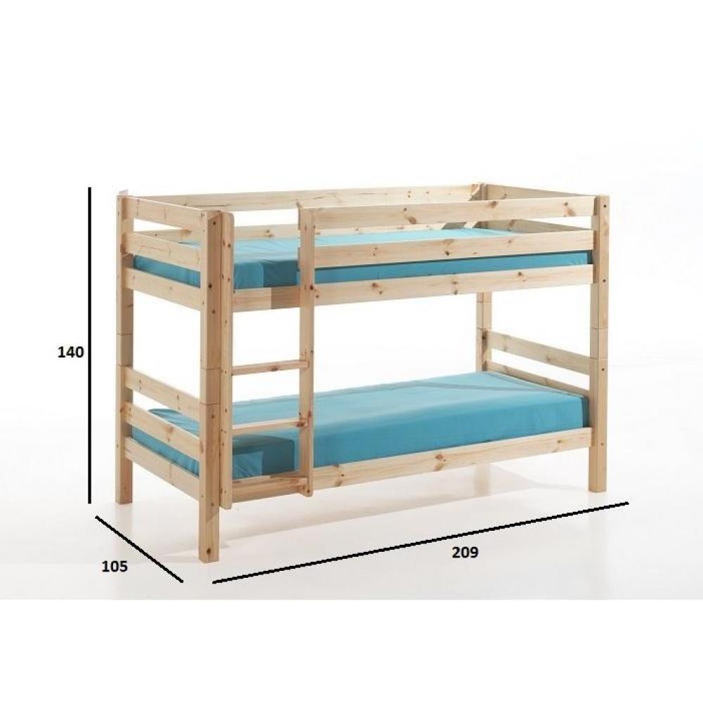 lits chambre literie lit superpos pluton en pin naturel petit mod le inside75. Black Bedroom Furniture Sets. Home Design Ideas