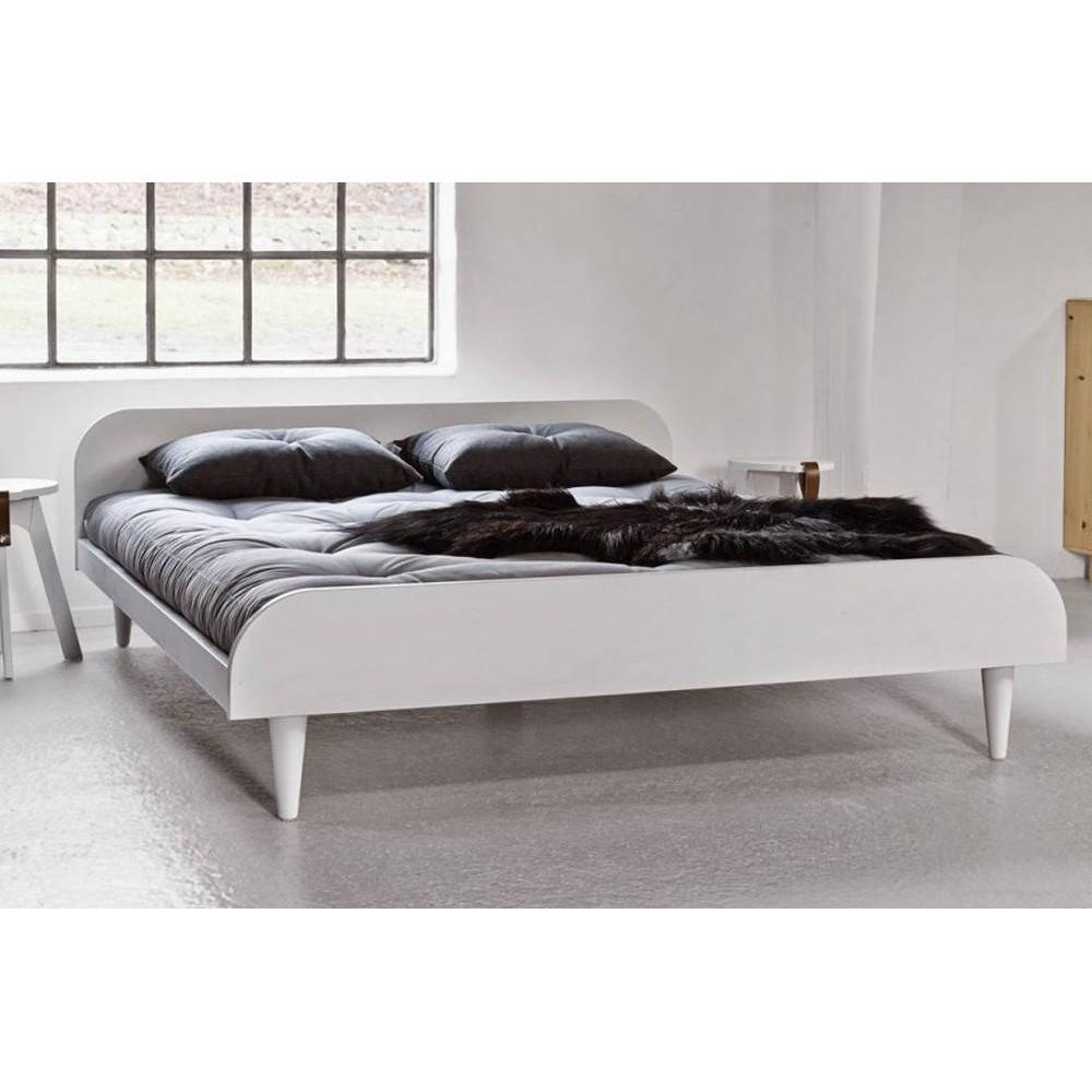 lit twist blanc 140 200cm avec sommier ebay. Black Bedroom Furniture Sets. Home Design Ideas