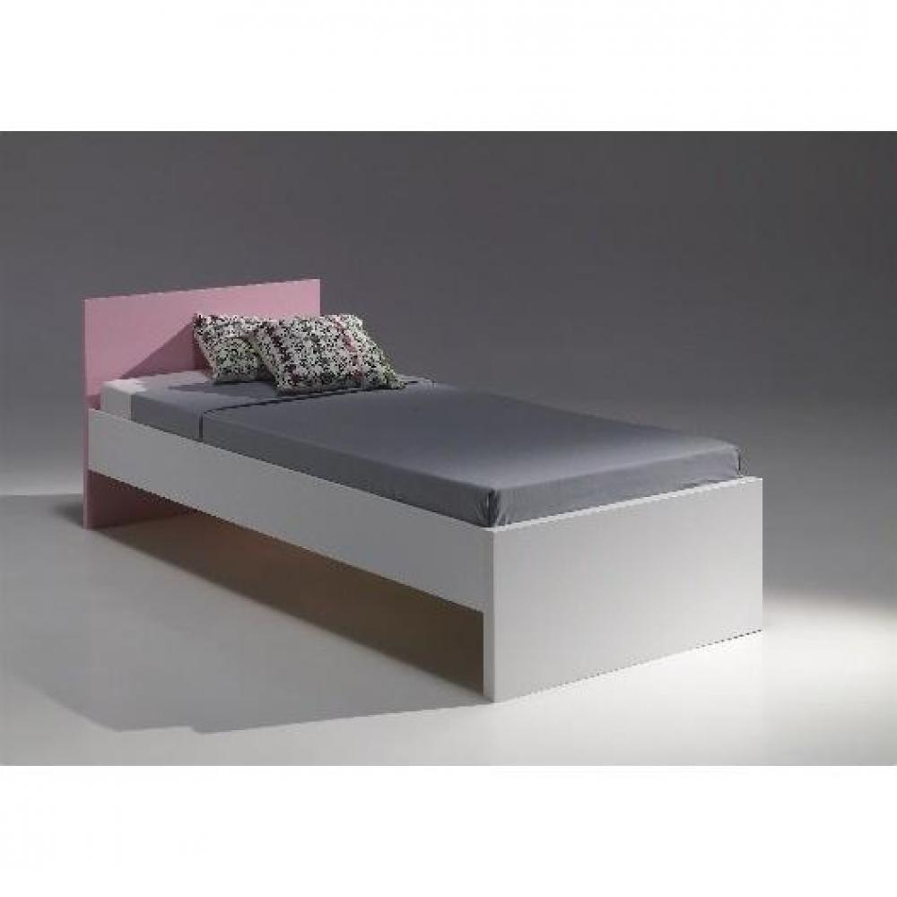 lits enfant chambre literie lit simple valentine design blanc et rose inside75. Black Bedroom Furniture Sets. Home Design Ideas