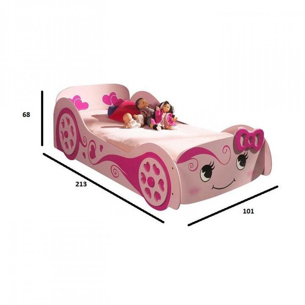 Lits chambre literie lit voiture berline design rose - Lit voiture princesse ...