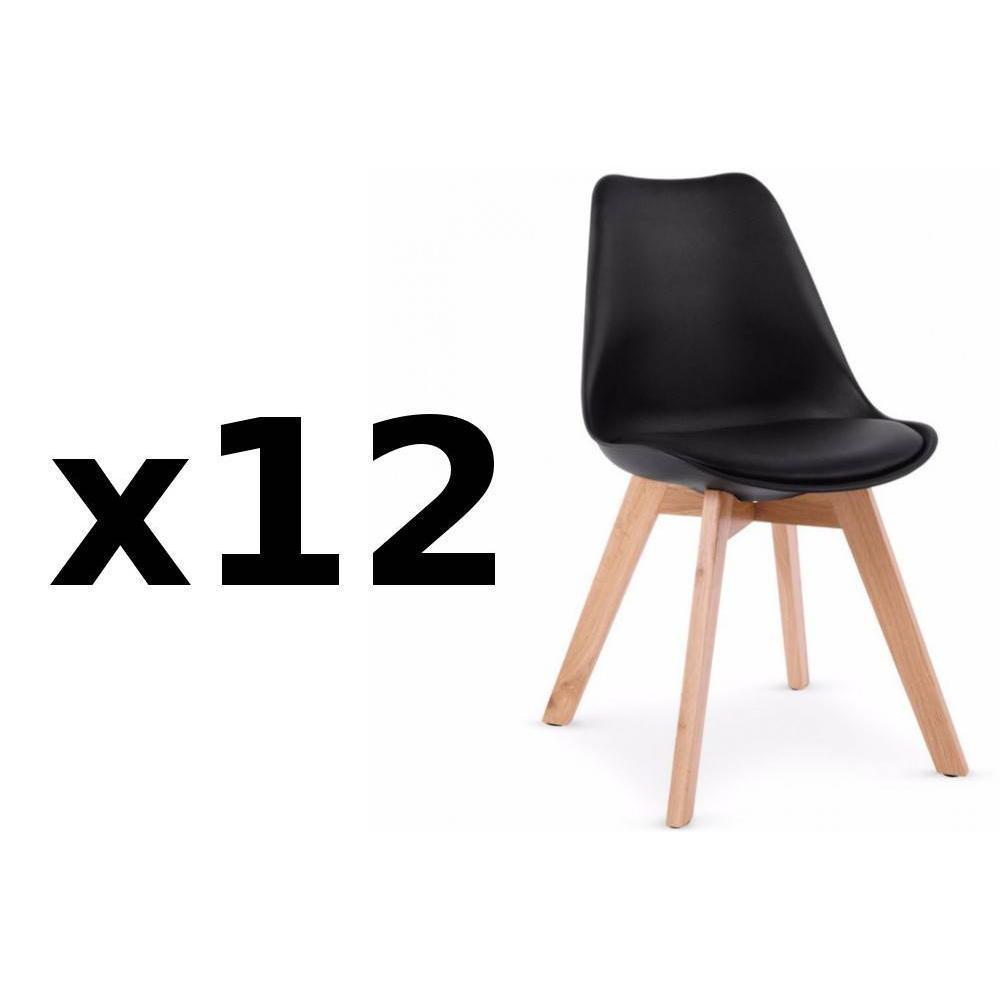 Chaises tables et chaises lot de 12 chaises oslo noire - Lot table et chaise ...