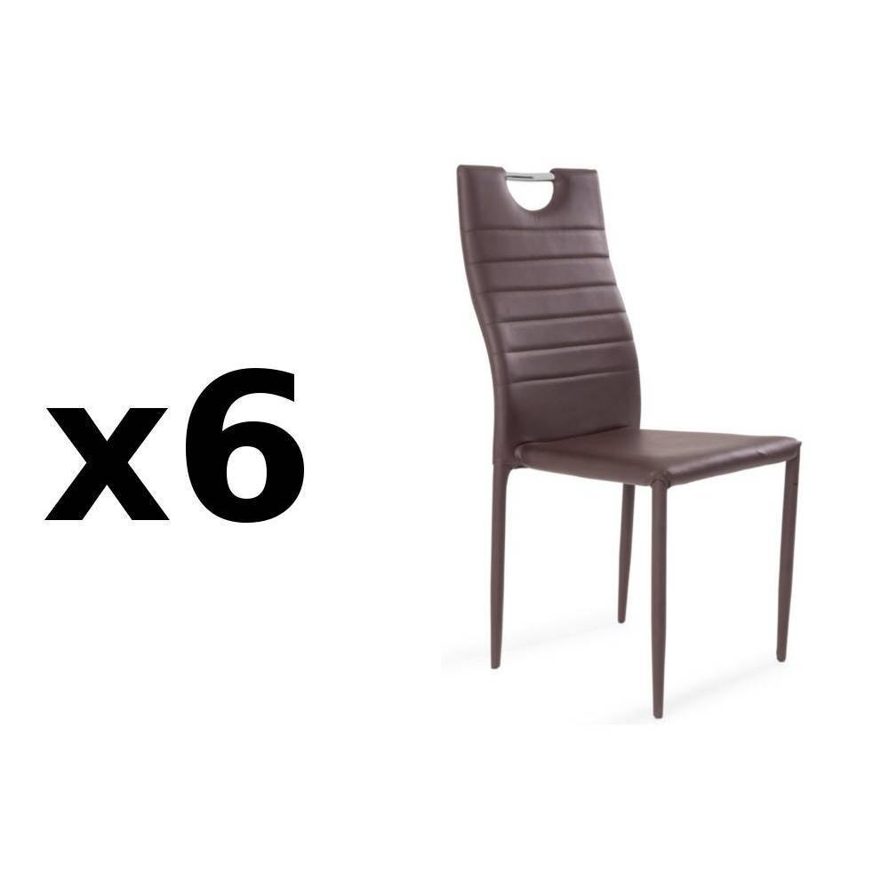 chaises tables et chaises lot de 12 chaises design similicuir marron inside75