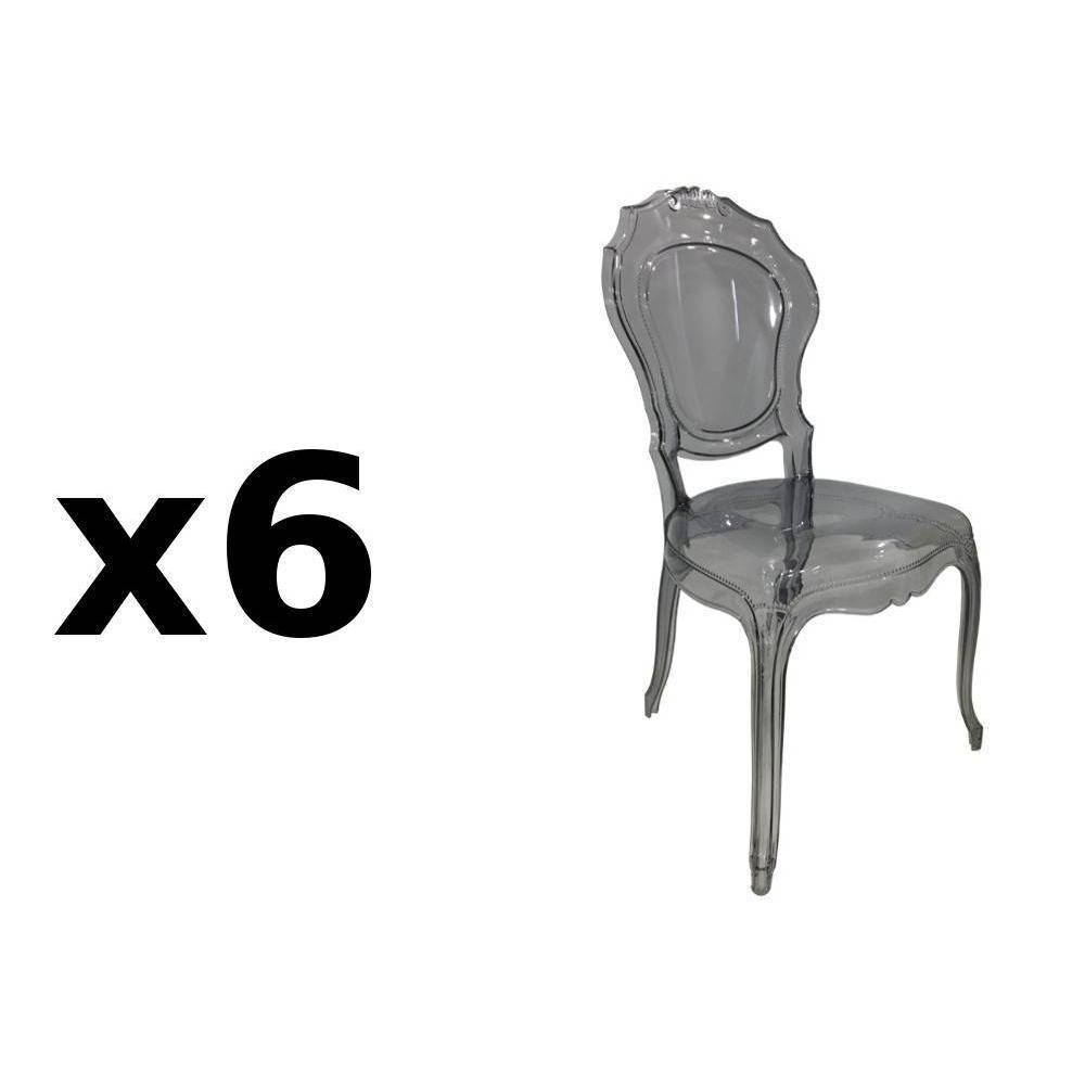 chaises tables et chaises lot de 6 chaises design napoleon en polycarbonate transparent gris. Black Bedroom Furniture Sets. Home Design Ideas