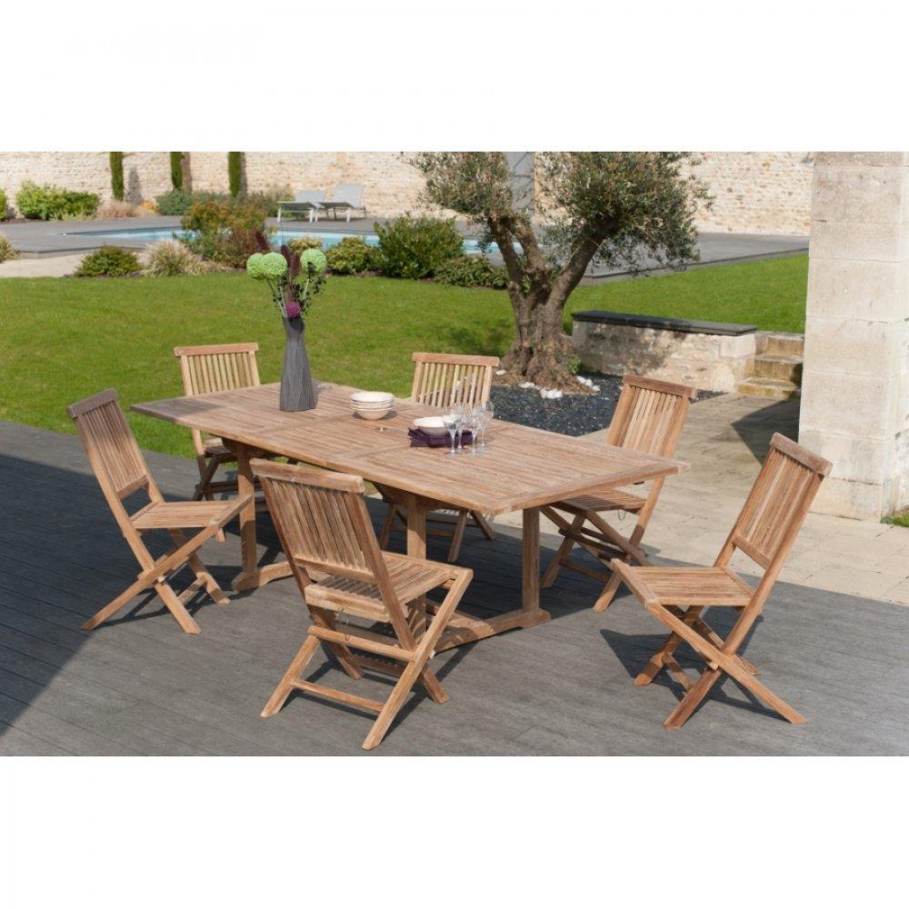 Chaises tables et chaises lot de 6 chaises de jardin java en teck inside75 - Lot de chaise de jardin ...
