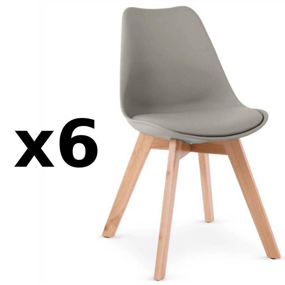 Chaises tables et chaises lot de 6 chaises oslo grise for Table et chaises scandinave