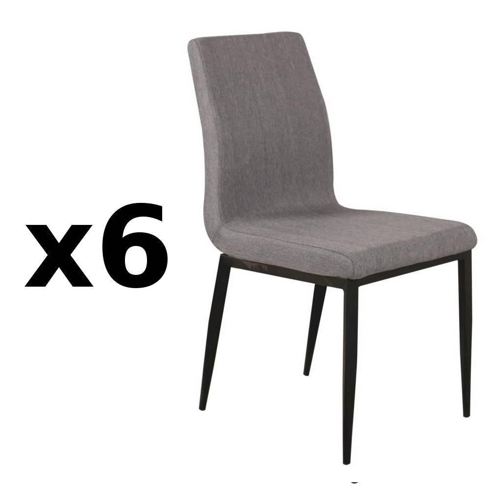 Chaises tables et chaises chaise vip design tissu gris for Lot 6 chaises scandinaves