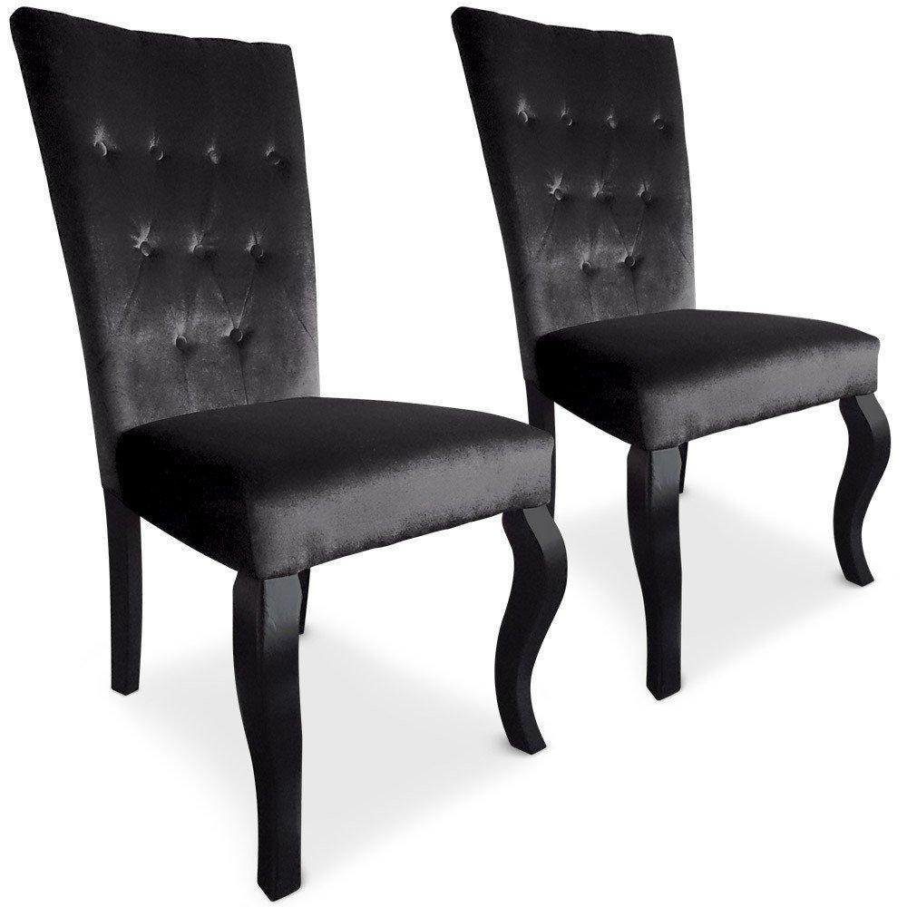 chaises tables et chaises lot de 2 chaises trice en velours noir inside75. Black Bedroom Furniture Sets. Home Design Ideas