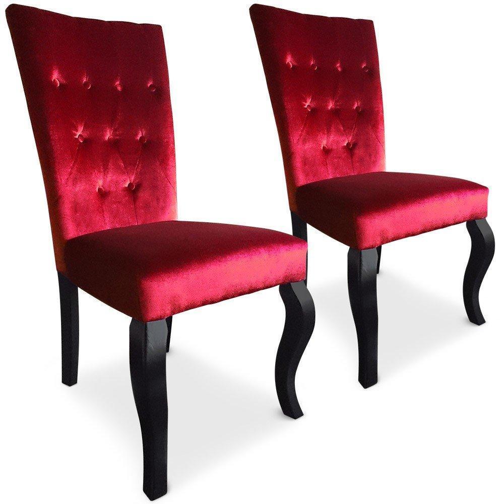 Chaises tables et chaises lot de 2 chaises trice en - Chaise velours rouge ...