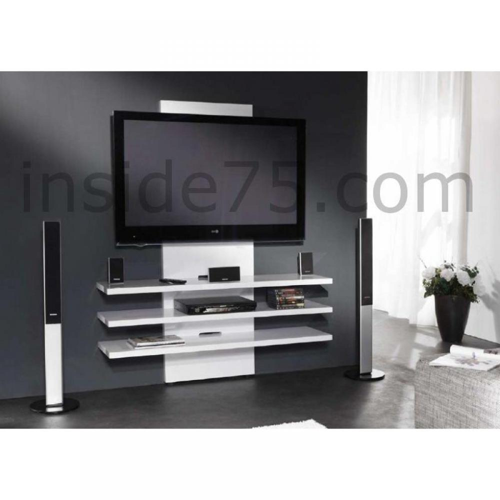 meubles tv meubles et rangements lucarne meuble tv design laqu blanc brillant inside75. Black Bedroom Furniture Sets. Home Design Ideas
