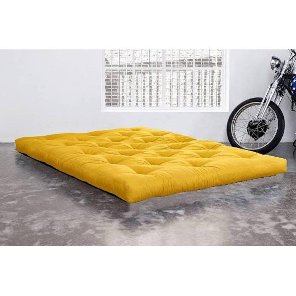 matelas chambre literie matelas futon confort jaune longueur couchage 200cm paisseur 15cm. Black Bedroom Furniture Sets. Home Design Ideas