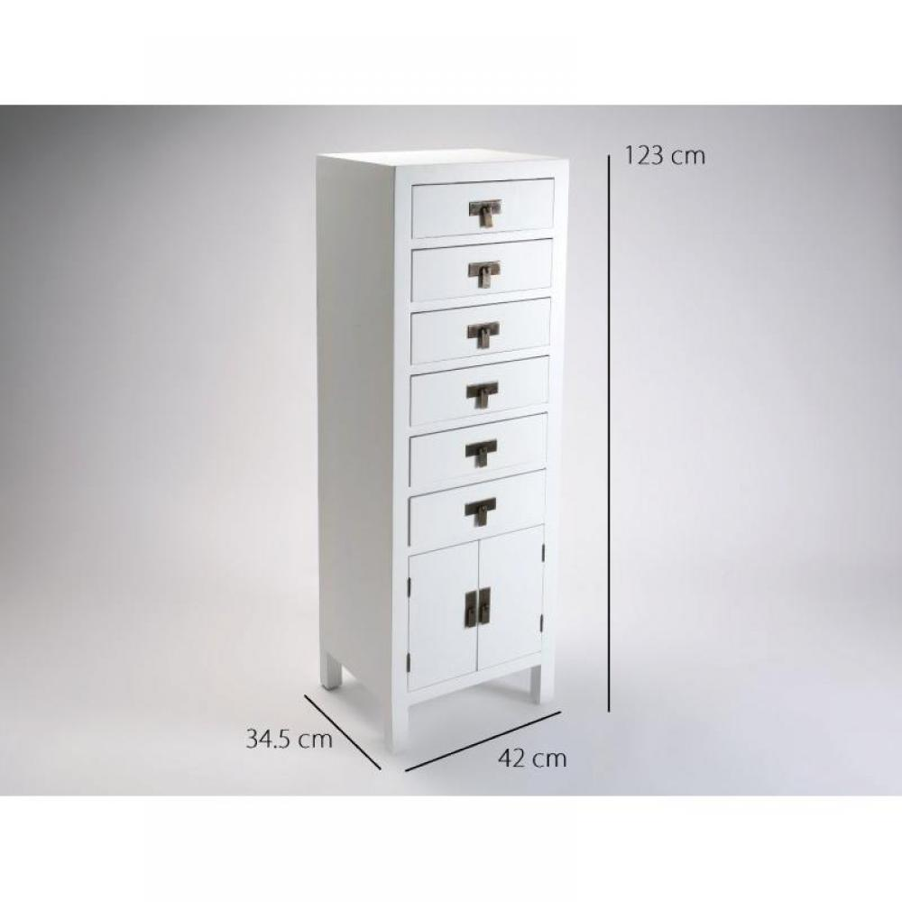 chiffonniers meubles et rangements matmata chiffonnier bois 6 tiroirs 2 portes blanc inside75. Black Bedroom Furniture Sets. Home Design Ideas