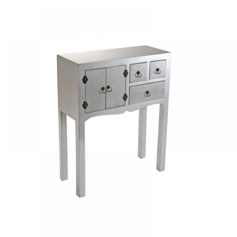 consoles tables et chaises matmata petite console design argent en bois 3 tiroirs 2 portes. Black Bedroom Furniture Sets. Home Design Ideas