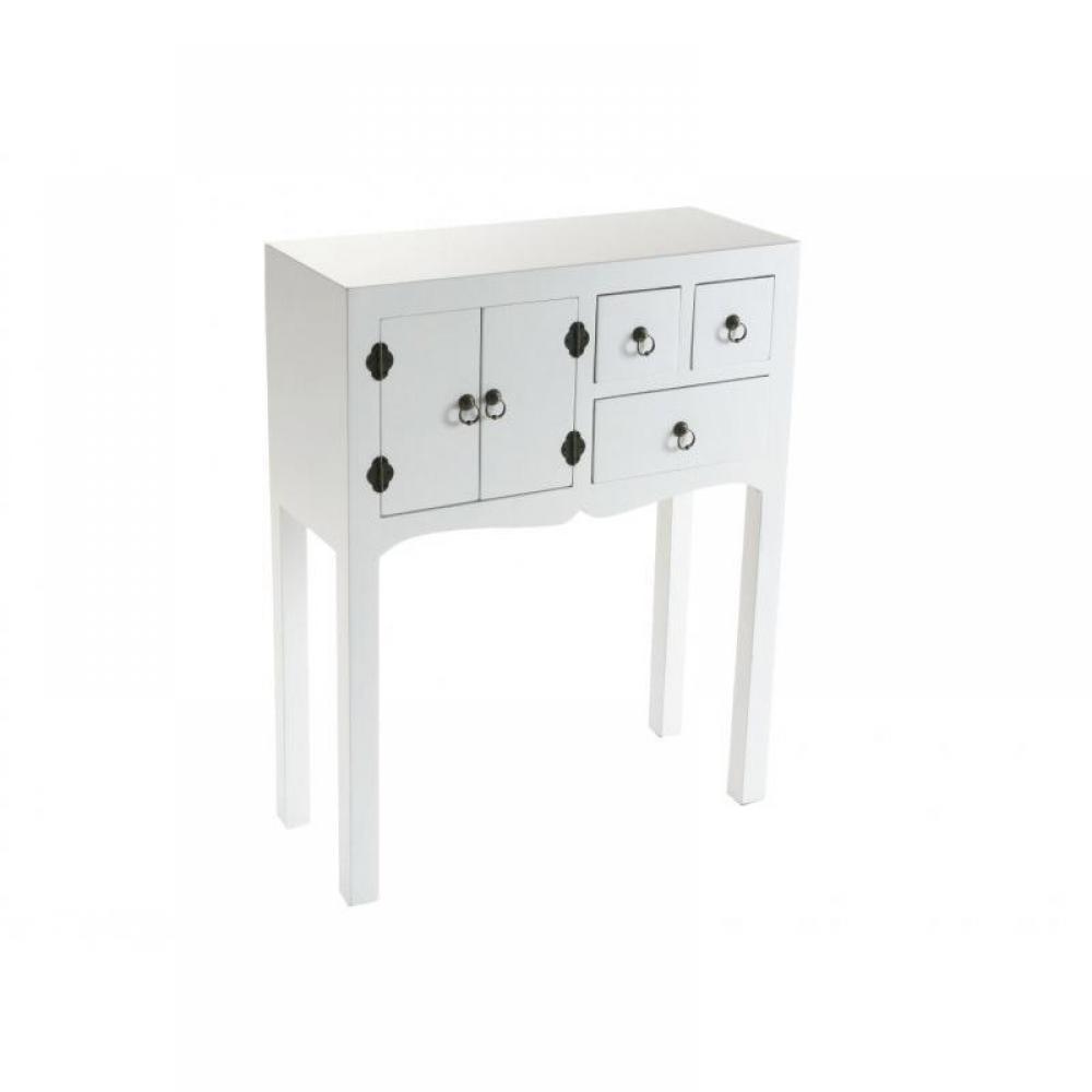 consoles tables et chaises matmata petite console design blanc en bois 3 tiroirs 2 portes. Black Bedroom Furniture Sets. Home Design Ideas