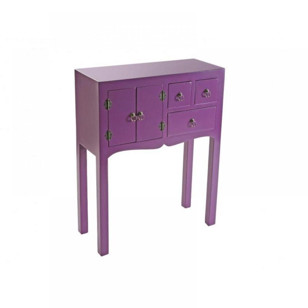 Petite Console Bois - Consoles, tables et chaises, MATMATA petite console design mauve en bois 3 tiroirs 2 portes