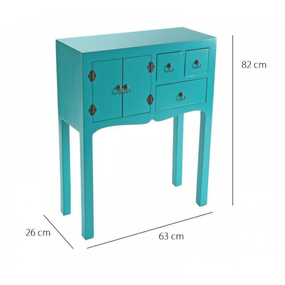 consoles tables et chaises matmata petite console design turquoise en bois 3 tiroirs 2 portes. Black Bedroom Furniture Sets. Home Design Ideas