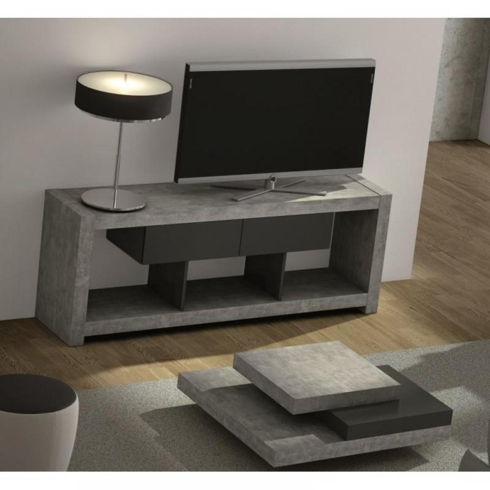 meubles tv meubles et rangements temahome nara meuble tv design b ton avec 2 tiroirs inside75. Black Bedroom Furniture Sets. Home Design Ideas