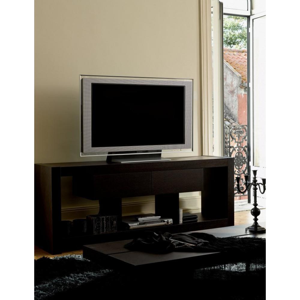 Meuble Tv Design Wenge : Et Rangements, Temahome Nara Meuble Tv Bois Wenge Tiroirs Design