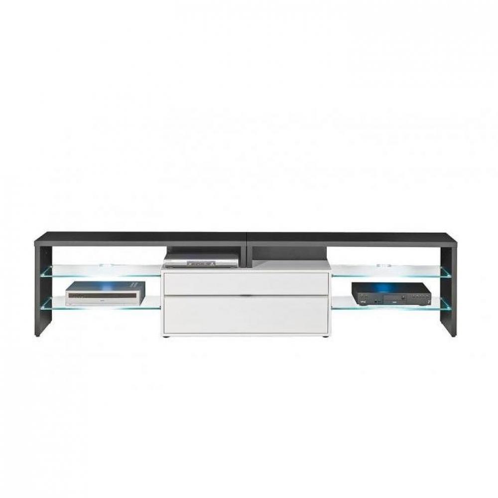 meuble tv noir et blanc laque fly – Artzein.com
