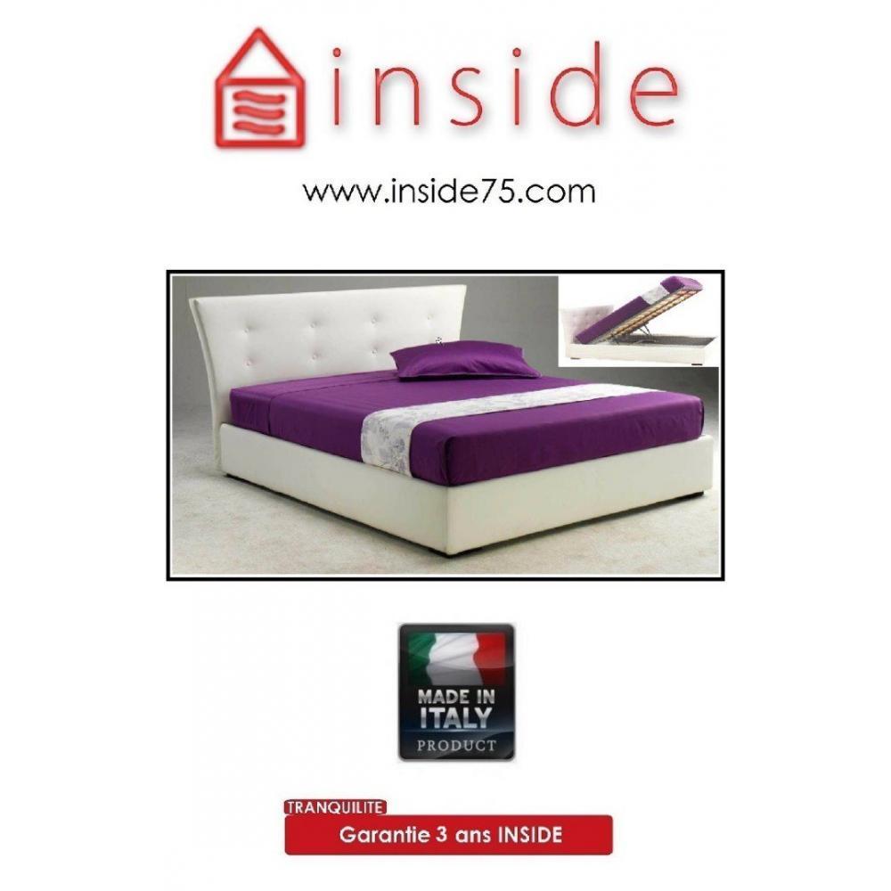 lits coffres chambre literie lit coffre metropolis haut de gamme avec t te de lit 160 200 cm. Black Bedroom Furniture Sets. Home Design Ideas
